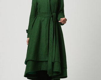 dark green coat, long coat, wool clothing, wool coat women, maxi coat, winter jacket, trench coat, cashmere coat, made to order    (1112)