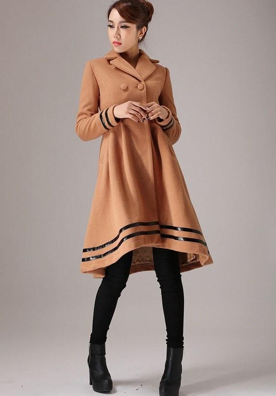 Brown coat,wool coat, Trench coat, double breasted coat, asymmetrical coat,winter coat, dress coat, long jacket, ladies clothing,Gift  (757)