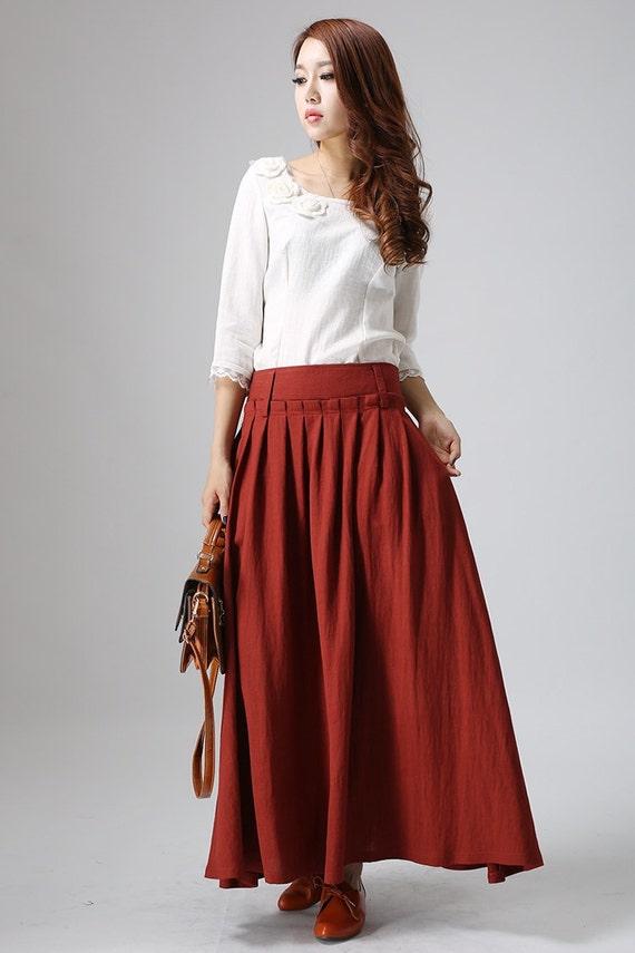 Red linen skirt - woman's long skirt with ruffles detailed waist - Custom made Maxi skirt - Handmade circle skirt with pockets (816)