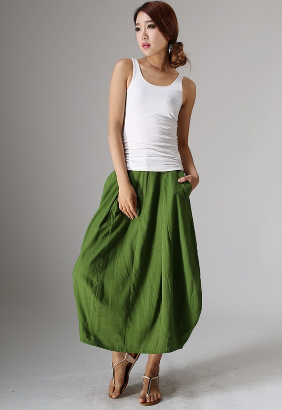 green skirt,maxi skirt,bubble skirt,womens long skirt,handmade skirt,modern clothing,summer skirt,plus size skirt,gift ideas (984)