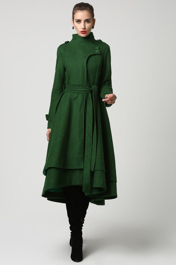 Coat wool coat women green coat long coat dark green