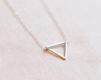 Tiny Triangle Necklace Sterling Silver