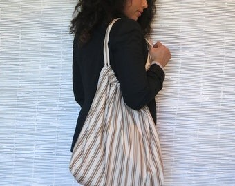 SALE  - 50% OFF - Tan and Beige Striped Cotton Tote