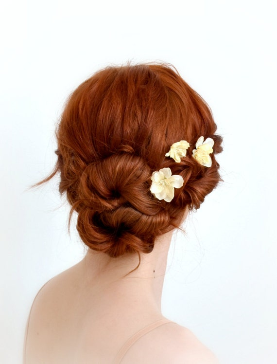 Bridal Ivory Flower Hair Accessories : Ivory flower hair clips wedding floral bobby