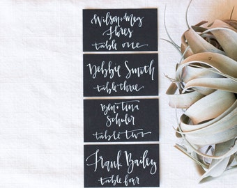 White and Black Place Card Calligraphy