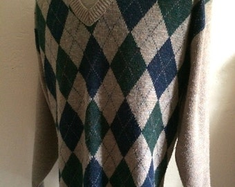 Vintage Men's 80's Sweater, Tan, Argyle, Acrylic, Long Sleeve by Carmel (L)