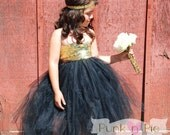 Black and Gold Flower Girl Tutu Dress - The Golden girl