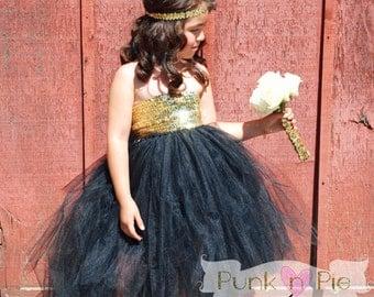 Black and Gold Flower Girl Tutu Dress - The Golden girl