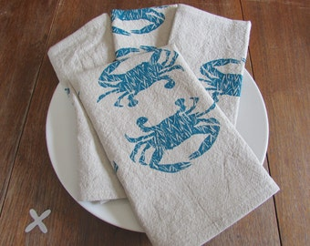 Cloth Napkins, Hand Printed Blue Crabs, Set of 4