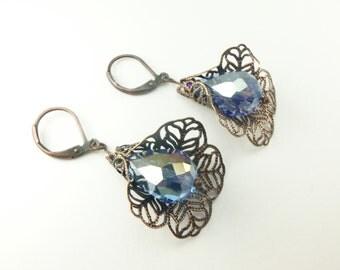 Blue Drop Earrings Antiqued Copper Filigree Earrings Leverback Victorian Drop Earrings Flower