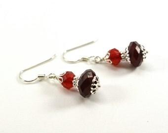 Red Dangle Earrings Beaded Red Earrings Sterling Silver Lightweight Acrylic