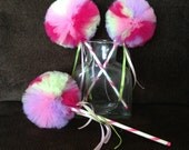 Multicolored Wand- Tulle wand- Pom decoration- Tulle pom Decoration- Party Favors- Tutu wands