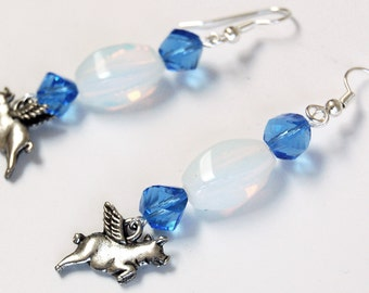 Pigs with Wings under Opalite n Blue Earrings, Flying Pig Earrings, Blue and White Dangle Earrings, Flying Pig Earrings, Pigasus Jewelry