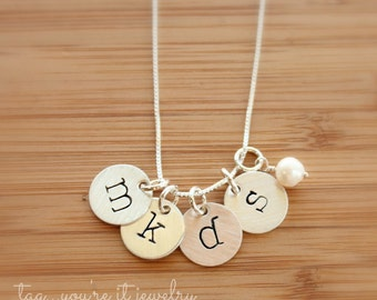 Mommy Jewelry for four kids, initial, letter sterling silver disc necklace with pearl