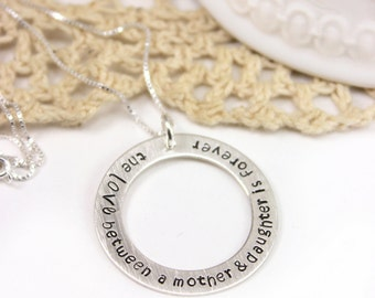 Mother Daughter Necklace, Love Between a Mother and Daughter is Forever Hand Stamped Sterling Silver open circle washer necklace