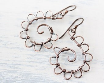Playful Solid Copper Spiral Earrings, metal wire wrap, airy spiral copper earrings, petals, artisan copper jewelry, niobium earwires