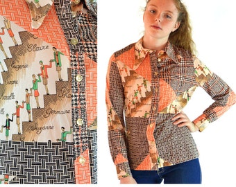 vintage 60s womens blouse / Mod Patchwork Novelty French Script PRINT Blouse / 1960 nylon button shirt / Mod Pointed collar size S / M