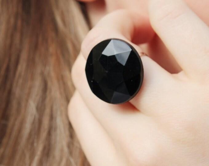 Round Black Statement Ring.