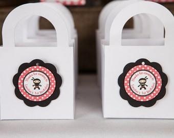 Ninja FAVOR TAGS - Happy Birthday Party Decorations - Ninja Theme Birthday Party Thank You Tags