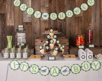 Vintage Airplane BABY SHOWER Banner -  Baby Shower Decorations - Airplane Theme Shower Decorations in Navy Blue and Green