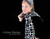 Black white women grid scarf, geometric pattern design, elegant wool shawl, warm cozy neckwarmer