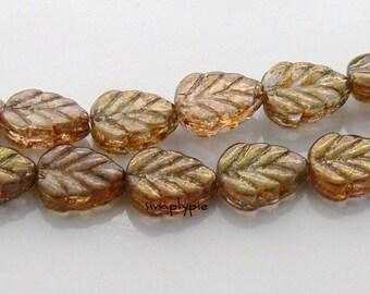Leaf Gold Smoky Topaz Lumi Czech Glass Beads 10x8mm 20