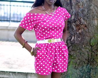 Polka dot playsuit Off shoulder jumpsuit Pink white playsuit