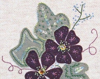 Jacobean Flower Wool Applique, Hand Embroidery / Pattern / Jac 024