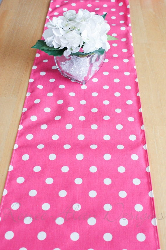 Pink with white polka dot table runner 12x54 by ReneeAlanDesigns