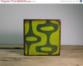 ON SALE Mid Century Modern Abstract Atomic Art Block--Green and Blue--MatchBlox--1696