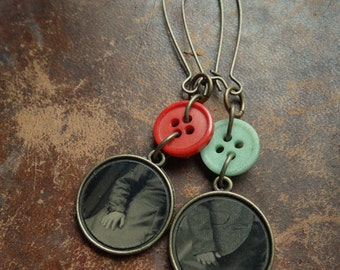 Hands That Play - Antique Tintype & Vintage Button Earrings