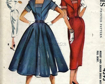 Vintage 1950s Wiggle and Full Dress Pattern...Bow Trimmed Hem...1957 McCalls 4408 Bust 34