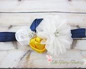 Navy Blue Yellow and White Headband, Satin & Chiffon Flowers w/ Crystals Headband or Barrette, M2M Sail Away, Baby Child Girls Headband