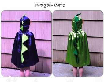Dinosaur Child Cape Purple or Green Satin Dragon Toddler Kids Children Photographer Prop Halloween Make Believe