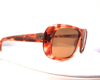 Vintage 1950s Sunglasses // 50s Eyeglasses // Tortoiseshell // Large Glass Lenses // Italy Frames
