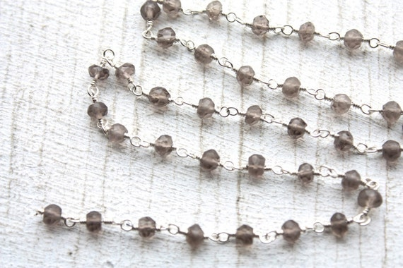 1 Foot Faceted Smokey Quartz Gemstones and Sterling Silver Plated Wired Chain // Gemstone Jewelry Chain