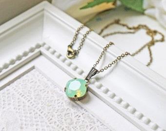 Pale Green Opalescent Swarovski Necklace Chrysolite Opal Sea Foam Mint Green
