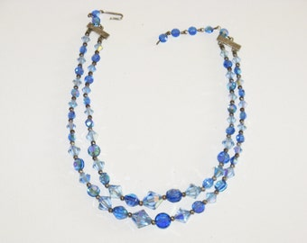 Vintage Blue Crystal Double Strand Necklace (N-2-3)