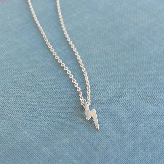 Lightning bolt necklace,tiny silver lightning bolt Necklace,lightning bolt charm,small sterling silver necklace