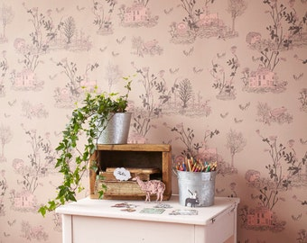 Woodlands Wallpaper - Brown Pink