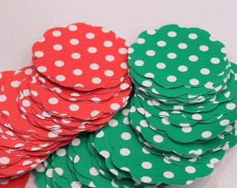 50 Scallop Tags Christmas Red & Green Polka Dot Gift Tag 2 inch READY TO SHIP Scrapbooking Journaling Spots Thank you Card Stock Die Cuts