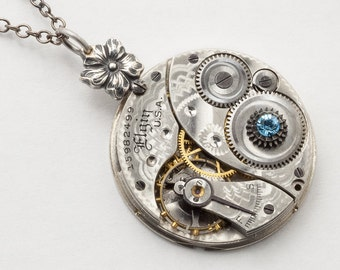 Steampunk Necklace, Vintage Elgin Pocket Watch Movement Pendant with Silver Flower Bail & Aquamarine Blue Crystal Neo Victorian Jewelry Gift