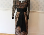 Oleg Cassini 1950s Black Lace Illusion Dress with Satin Bow