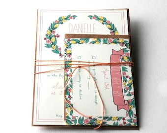 The Beatrice Collection - Vintage Inspired Floral Wreath Wedding Invitation Set in Pink, and Green with Kraft or Cream Envelopes - SAMPLE