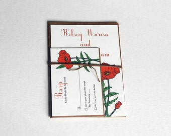 The Daphne Collection - Vintage Inspired Poppy Wedding Invitation Set in Green, Red, Orange, Black and Cream -Purchase for a Sample
