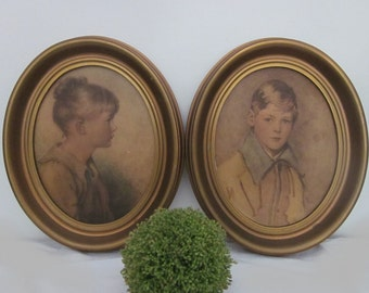 vintage Charlotte and Peter by Sidney Bell & Arthur Garrett. Large oval classic children portraits. Chippy gold frames. Shabby cottage art.