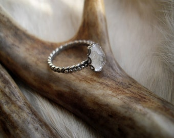 crystal quartz and sterling silver ring  in size 5