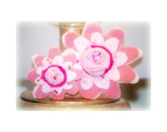 Matching Flowers Hair Clips American Girl Doll & Me, AGD Princess Just like My Mommy Little Big Sister, Preppy Preteen, Hot Pink Ivory White
