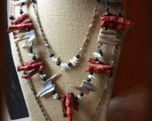 CALYPSO Wild / Untamed & Refined / Opulent. Neck Art ensemble. Coral Branches, Ash Black Cultured Pearl, Abalone MOP gypsy talisman necklace