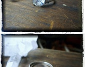 """TURIEL. Elvish Script CZ Cubic Zirconia 2Ct. Solitaire Sterling Silver Woodland Elf Ring """"moonlight drowns out all but the brightest stars"""""""